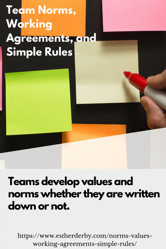 Teams develop values and norms whether they are written down or not.