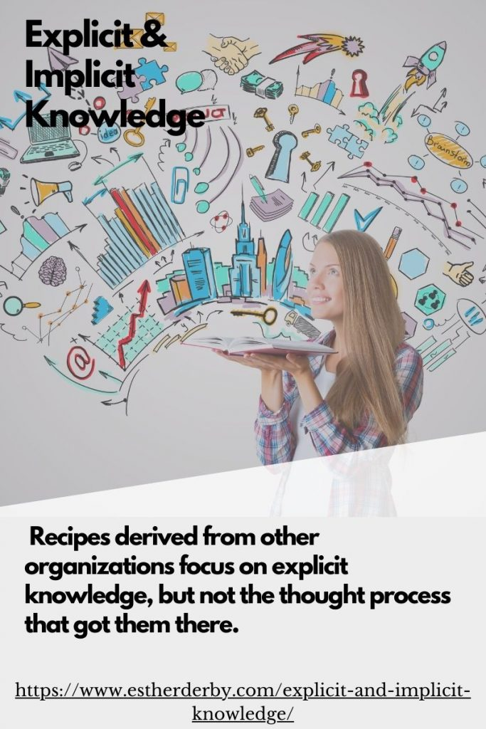 Recipes derived from other organizations focus on explicit knowledge, but not the thought process that got them there.